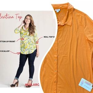 LuLaRoe 2XL Valentina Button Down Orange Shirt NWT